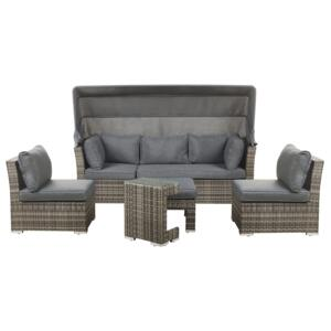 Outdoor Garden Set Grey Dark Brown PE Rattan Sofa with Canopy Chairs and Side Table Modern Design Beliani