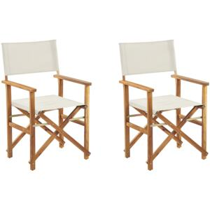 Set of 2 Garden Director's Chairs Light Wood with Off-White Acacia Fabric Folding Beliani