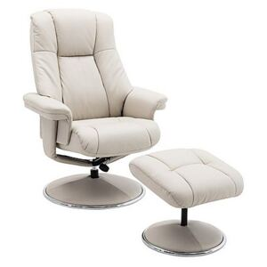 Troyes High-Back 360 Swivel Chair and Footstool - Beige