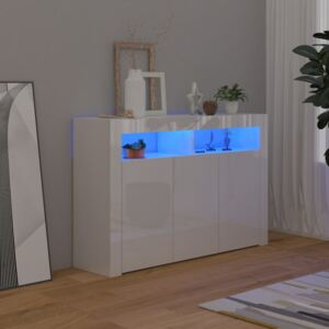 Sideboard with LED Lights High Gloss White 115.5x30x75 cm