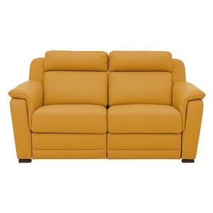 Nicoletti - Matera 2.5 Seater Leather Power Recliner Sofa with Pad Arms - Yellow