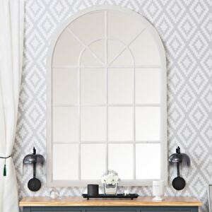 Toulouse Small White Arched Window Mirror 90 x 135cm