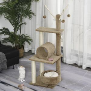 PawHut Cats Sisal Rope 3-Tier Scratching Tree w/ Dangle Toys Brown