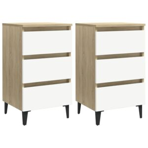 VidaXL Bed Cabinet with Metal Legs 2 pcs White and Sonoma Oak 40x35x69 cm