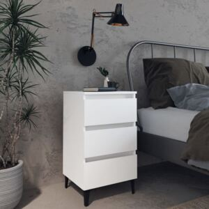 VidaXL Bed Cabinet with Metal Legs White 40x35x69 cm