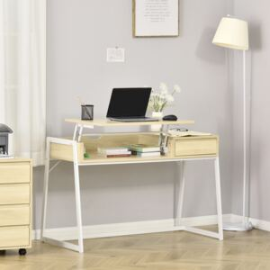 HOMCOM Compact Computer Desk Workstation for Modern Office Study Writing with Drawer Storing Box, Home Furniture, Natural