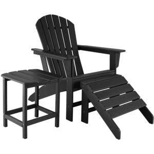 Tectake 404163 garden chair with footrest and weatherproof side table - black