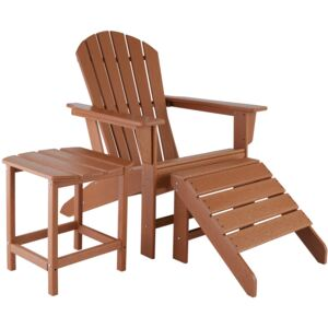 Tectake 404164 garden chair with footrest and weatherproof side table - brown