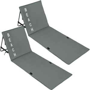 Tectake 403859 2 beach mats with backrest - grey
