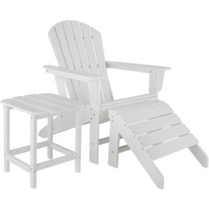 Tectake 404166 garden chair with footrest and weatherproof side table - white