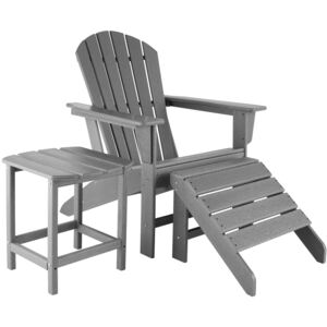 Tectake 404165 garden chair with footrest and weatherproof side table - grey