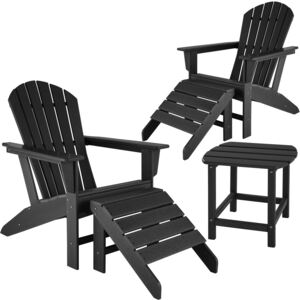 Tectake 404167 2 garden chairs with footrests and weatherproof side table - black