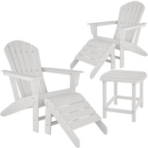 Tectake 404170 2 garden chairs with footrests and weatherproof side table - white