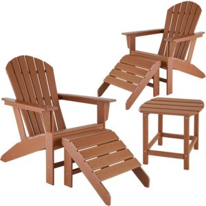 Tectake 404168 2 garden chairs with footrests and weatherproof side table - brown