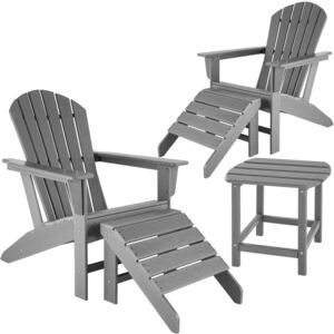 Tectake 404169 2 garden chairs with footrests and weatherproof side table - grey