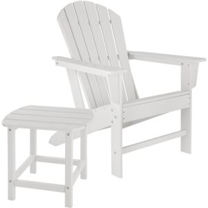 Tectake 404174 garden chair with side table, weatherproof garden furniture set - white