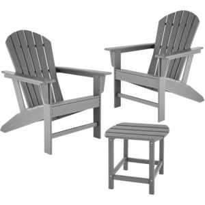 Tectake 404177 garden table and chairs set, 2 weatherproof chairs and side table - grey