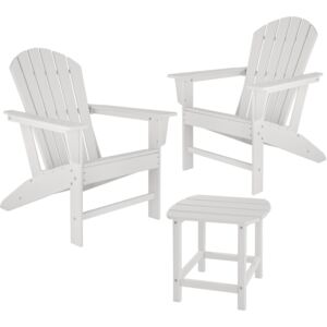 Tectake 404178 garden table and chairs set, 2 weatherproof chairs and side table - white