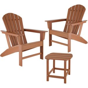 Tectake 404176 garden table and chairs set, 2 weatherproof chairs and side table - brown