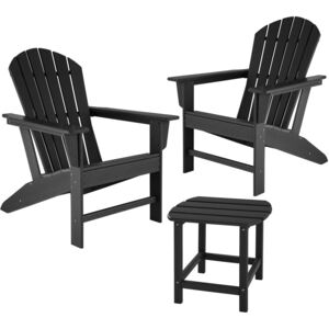 Tectake 404175 garden table and chairs set, 2 weatherproof chairs and side table - black