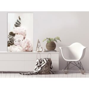 Canvas Print Other Flowers: Vanilla Peonies (1 Part) Vertical