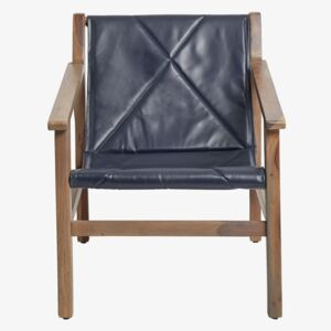 Leather Sling Back Chair - grey & navy