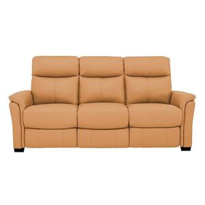 Compact Collection Piccolo 3 Seater Leather Static Sofa - Yellow- World of Leather