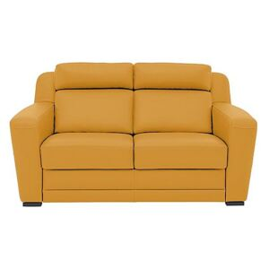 Nicoletti - Matera 2.5 Seater Leather Static Sofa with Box Arms - Yellow