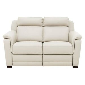 Nicoletti - Matera 2 Seater Leather Power Recliner Sofa with Pad Arms - Cream