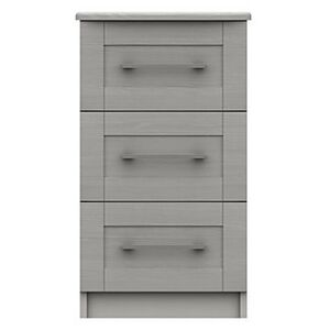London Bedrooms - Fenchurch 3 Drawer Bedside Chest - Grey