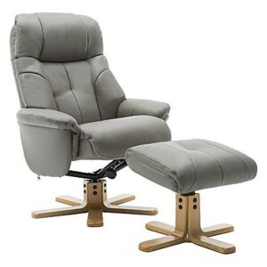 Muscat Faux Leather Swivel Recliner Chair and Footstool