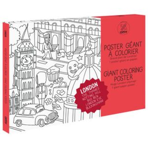 Londres Colouring poster - / Giant - L 115 x 80 cm by OMY Design & Play White/Black