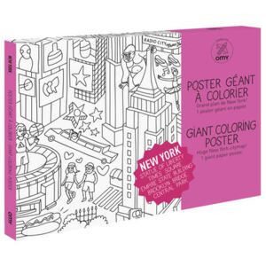 New York Colouring poster - / Giant - L 115 x 80 cm by OMY Design & Play White/Black
