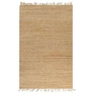 Hand-Woven Jute Area Rug 120x180 cm Natural