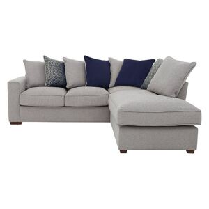 Comfi Fabric Pillow Back Corner Sofa with Chaise End Sofa Bed - Grey