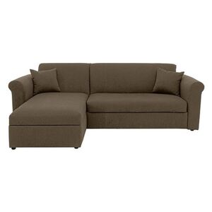 Versatile Small 2 Seater Fabric Chaise Sofa Bed with Scroll Arms - Mink