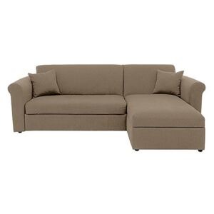 Versatile Small 2 Seater Fabric Chaise Sofa Bed with Scroll Arms - Beige