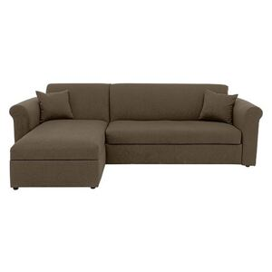 Versatile 2 Seater Fabric Chaise Sofa Bed with Scroll Arms - Mink