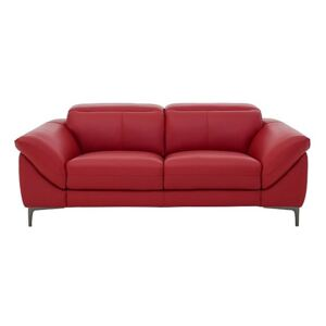 Galaxy 3 Seater Leather Sofa with Manual Headrests - Red- World of Leather