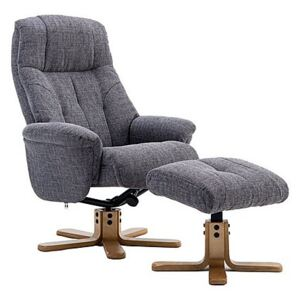 Muscat Fabric Swivel Recliner Chair with Footstool - Grey
