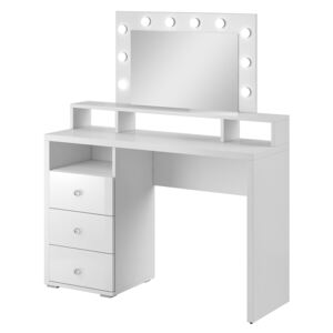 FURNITOP Dressing table with mirror and lighting DIVA white