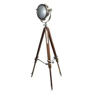 Culinary Concepts - Rolls Headlamp Floor Lamp with Natural Wood Tripod - Brown