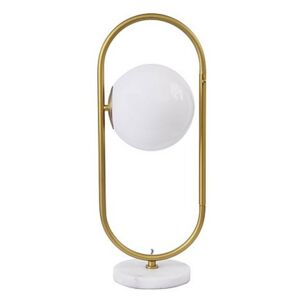 Orbital Milk Glass Brass and Marble Table Lamp