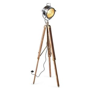Culinary Concepts - Spotlight Floor Lamp with Two Tone Natural Wood Tripod - Brown