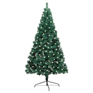 Artificial Half Christmas Tree with LED&Stand Green 240 cm PVC