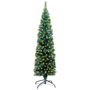 Slim Artificial Christmas Tree with LEDs&Stand Green 120cm PVC