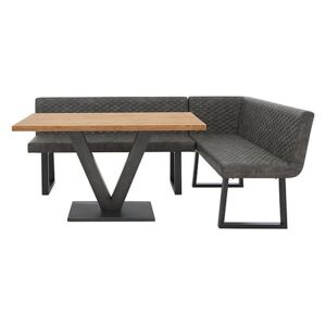 Compact Earth Dining Table and Right Hand Facing Corner Dining Bench