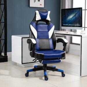 Vinsetto Cool & Stylish Gaming Chair Ergonomic w/ Padding Footrest Neck Back Pillow Adjustable Chair Blue