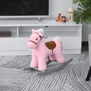 HOMCOM Kids Plush Ride-On Rocking Horse Toy Rocker with Plush Toy Realistic Sounds for Child 18-36 Months Pink