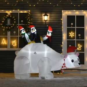 HOMCOM 5ft Outdoor Christmas Inflatable with LED Light, Lighted Blowup Polar Bear with Three Penguins, Giant Yard Party Decoration for Garden Lawn